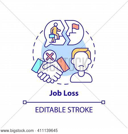 Job Loss Concept Icon. Rise In Unemployment Rate Idea Thin Line Illustration. Impact From Covid-19 R
