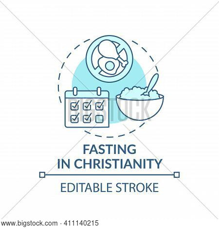 Fasting In Christianity Turquoise Concept Icon. Calender Dates. Great Lent. Religious Traditions Ide