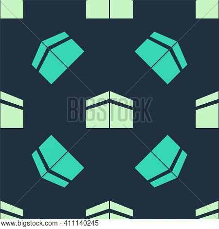 Green And Beige Kaaba Mosque Icon Isolated Seamless Pattern On Blue Background. Kaaba Hajj Mecca Pra