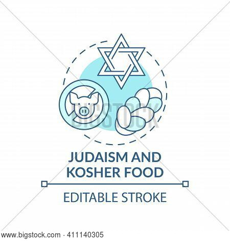 Judaism And Kosher Food Turquoise Concept Icon. Restrictions In Meals. No Pork Meat. Religious Tradi