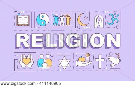 Religion Word Concepts Banner. Spirituality And Belief. Religious Community. Infographics With Linea