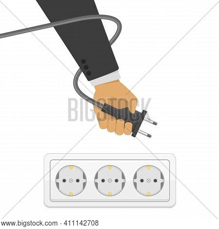Electric Power Plug In Hand, Illustration In Flat Style. Man Holding Electric Power Plug. Unplug, Pl