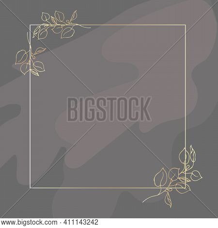 Gold Frame. With Golden Branches Of Eucalyptus. On A Gray Background. Abstract Transparent Spots. Pl