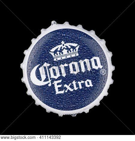 Lviv, Ukraine - June 02, 2020: Corona Beer Cap On A Black Background
