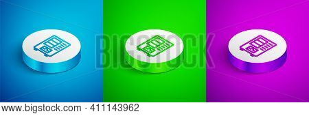 Isometric Line Vending Machine Of Food And Beverage Automatic Selling Icon Isolated On Blue, Green A