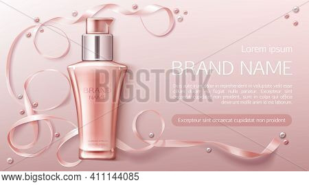 Cosmetics Bottle Mockup, Natural Beauty Cosmetic Product For Face Care On Pink Background With Silk