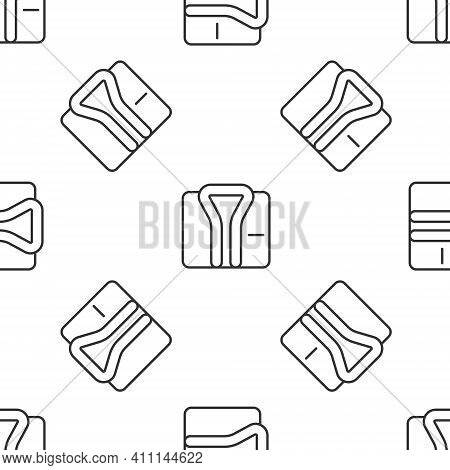 Grey Line Bathrobe Icon Isolated Seamless Pattern On White Background. Vector
