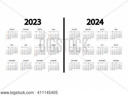 Calendar 2023, 2024 Year. The Week Starts On Sunday. Annual Calendar Template. Yearly English Calend
