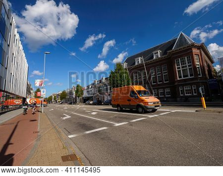 The Netherlands - Aug 19, 2018: Brand-new Iveco Van From The Dutch Post Driving To Deliver The Parce