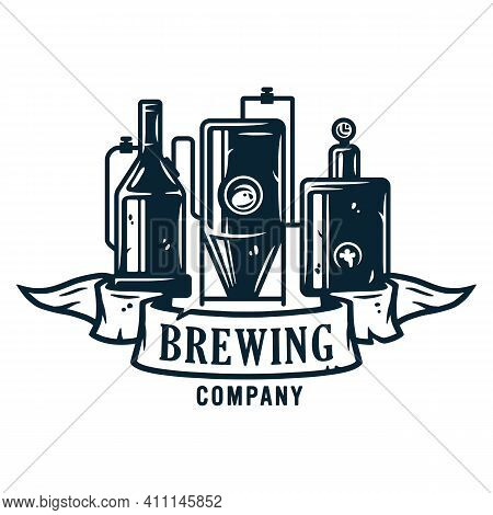Beer Brewing Process Or Craft Brewery Factory
