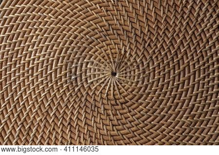 Abstract Decorative Wooden Textured Basket Weaving. Basket Texture Background, Close Up. Abstract Na