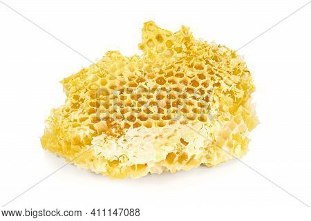 Piece Of Honeycomb Isolated On White Background With Clipping Path