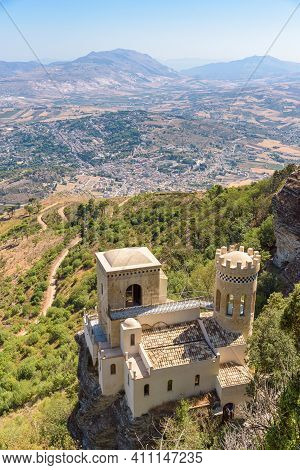 View Of Torretta Pepoli Building On The Slope Of Monte Erice With Valderice Town In The Background,