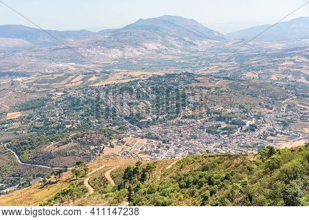 Aerial View Of Sicilian Landscape And Valderice Town On Western Sicily, Italy