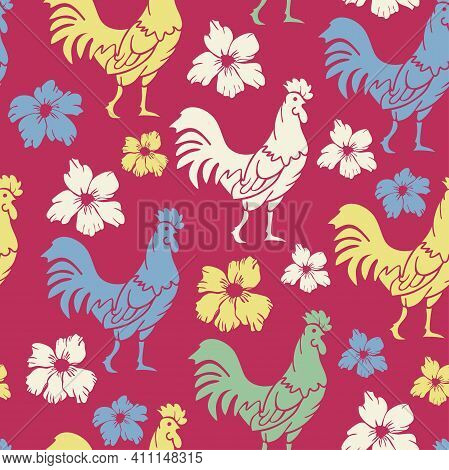 Vector Seamless Pattern With Colorful Rooster Silhouettes On A Vivid Background. Roosters And Flower