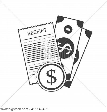 Receipt Icon With Money In A Flat Style Isolated On A Colored Background. Invoice Sign. Bill Atm Tem