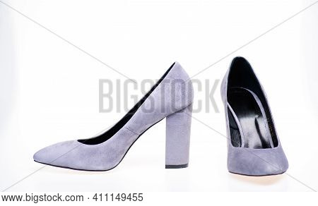 Pair Of Fashionable High Heeled Shoes. Shoes Made Out Of Grey Suede On White Background, Isolated, C