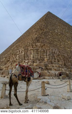 Cairo, Egypt - 09 Feb 2021. Great Pyramids Of Ancient Egypt In Giza, Cairo