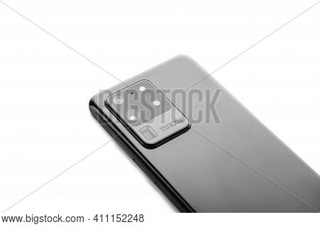 Varna, Bulgaria - February, 12, 2021: Studio Shot Of A  Samsung Ultra S20 5g Smartphone, With 108 Mp