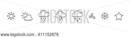 Set Of Drawn Weather Icons. Weathers Icons. Weather Vector Icons. Weather Icons Sun And Clouds In Sk