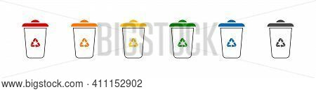 Recycle Bins Icons. Vector Recycle Garbage Symbols. Trash Bin Icons. Separation Recycle Bins Collect