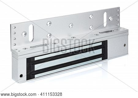 Electromagnetic Door Lock Assembled With Mounting Plate Isolated On A White Background