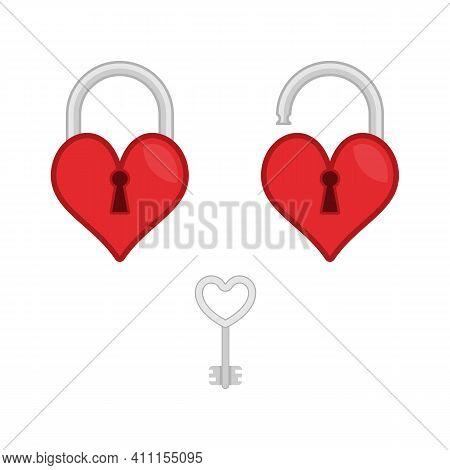 Lock Heart And Key Flat Icon. Open And Closed Red Shiny Heart Locks Shape With Golden Key. Love, Amo