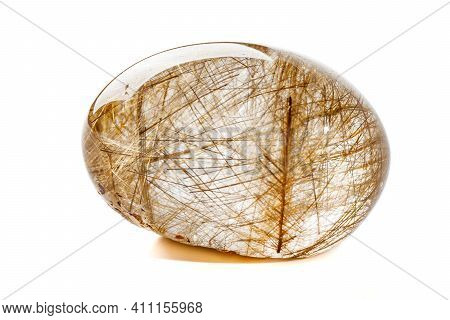 Macro Mineral Quartz Hairy Stone, Quartz With Rutile On A White Background