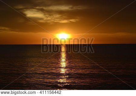 Colorful Sunset In Tanjung Aru Kota Kinabalu Beach In Sabah Borneo Malaysia