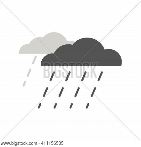 Simple Icon Of Wet And Rainy Weather With Drops Falling From Cloud. Raincloud Logo With Heavy Rain A