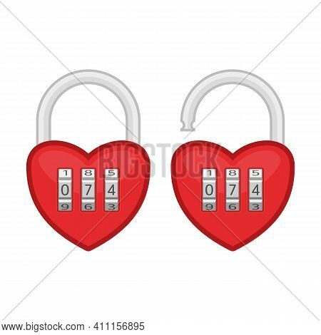Heart Code Lock. Open And Closed Red Shiny Heart Locks Shape With Combination Locks. Love, Amour Con