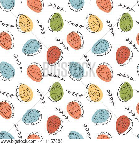 Seamless Vector Pattern Of Decorated Easter Eggs And Abstract Floral Elements On White Background. F