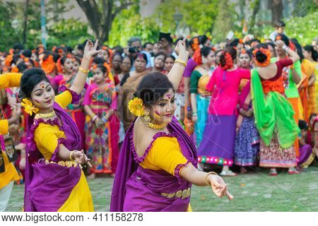 Kolkata, India - March 21st, 2019 : Beautiful Young Girl With Spring Festive Make Up , Joyful Expres