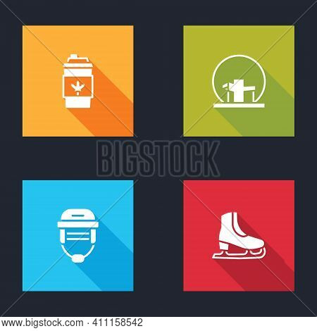 Set Coffee Cup To Go, Montreal Biosphere, Hockey Helmet And Skates Icon. Vector