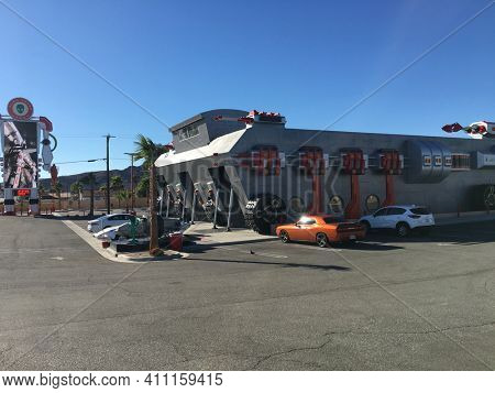 BAKER, CALIFORNIA - DEC 12, 2017:  The Alien Fresh Jerky Store, a tourist attraction just off the I 15 Highway, the main road to Las Vegas, Nevada.