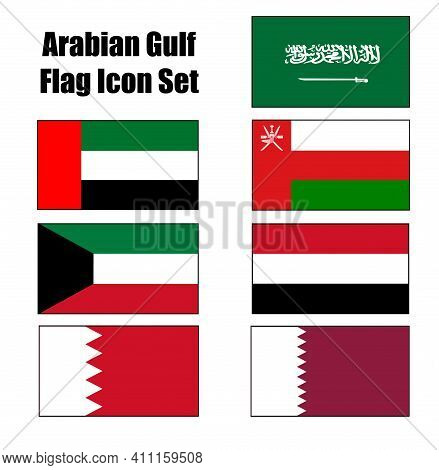 Arabian Or Persian Gulf Countries Map Outline Vector Icon Set With Flag Colors For Middle East Conce