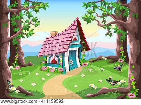 A Small Fairy Tale House With A Pink Roof And Hearts Stands On A Flower Meadow In The Forest. Fairy