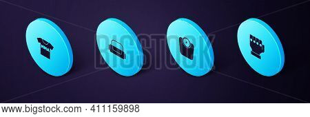 Set Isometric Mma Glove, Bathroom Scales, Sport Bag And T-shirt With Fight Club Icon. Vector