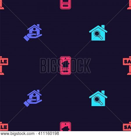 Set Search House, Realtor, Online Real Estate And Hanging Sign With Sale On Seamless Pattern. Vector