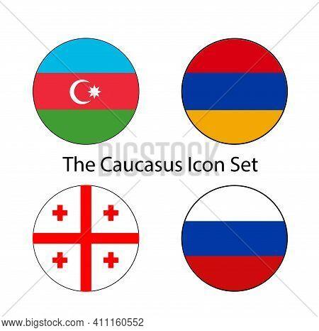 Transcaucasia Circle Flag Icon Set Of Former Soviet States Georgia, Azerbaijan, And Armenia.