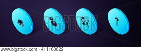 Set Isometric Lollipop, Jelly Candy, Bread Loaf And Pudding Custard Icon. Vector