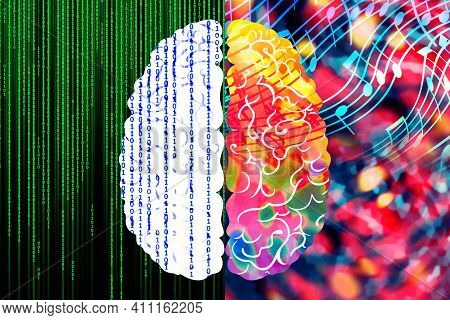 The Concept Of The Left And Right Hemispheres Of The Human Brain. Logic Part With Binary Code, Creat
