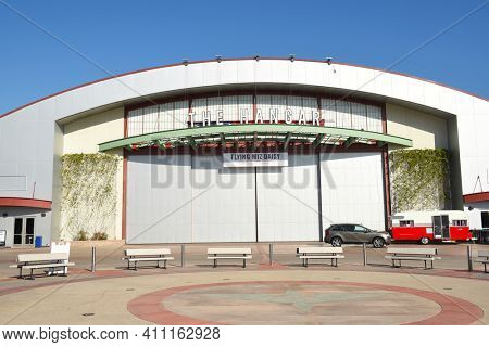 COSTA MESA, CA - DEC 1, 2017: The Hangar at the OC Fair and Event Center. The renovated airplane hangar hosts concerts and events throught the year.