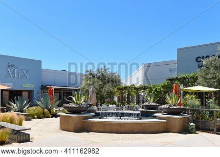 COSTA MESA, CALIFORNIA - 23 APRIL 2020: The OC Mix at the South Coast Collection, SoCo, an upscale shopping mall in orange County.