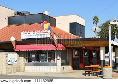 COSTA MESA, CA - DEC 1, 2017: Concession Stand at the OC Fair and Event Center. The fairgrounds host events and a weekly swapmeet throught the year.