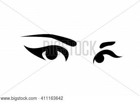 Beautiful Woman Eyes With Long Eyelashes And Elegant Brows - Black And White Simple Vector Design Fo