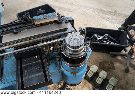 Pipe Bending Equipment, The Upper Part Of The Roller Top View. Industrial Equipment For Bending Meta