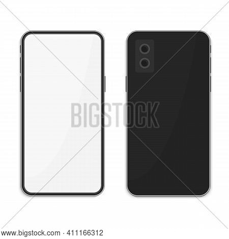 Realistic Black Smartphone With Blank Screen, Isolated On White Background. Modern Mobile Phone Fron