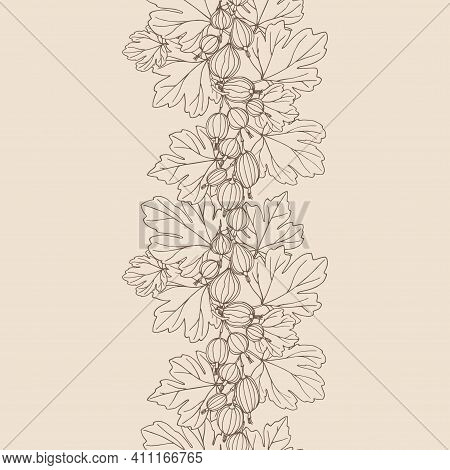 Vertical Seamless Pattern, Gooseberries With Leaves, For Ornaments, Decorative Frames, Borders, Colo