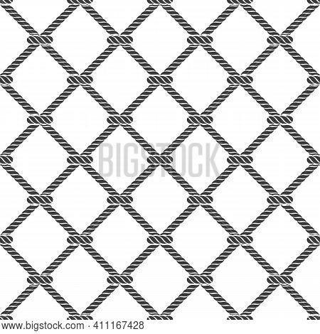 Seamless Rope Knot Pattern. Marine Rope Mesh On White Background. Ocean Wallpaper Concept. Vector Il